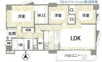ユーハウス第二刈谷2B号室の間取図です。