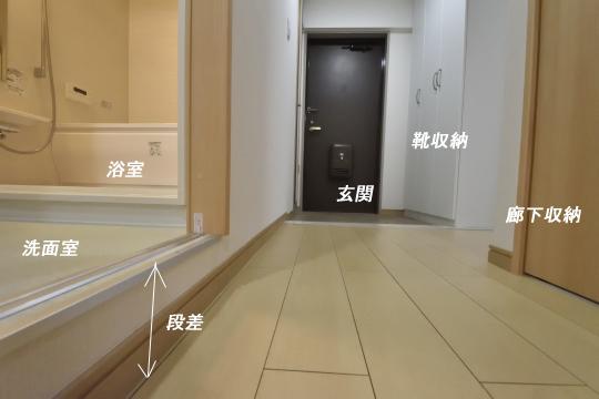 ユーハウス第二刈谷の廊下を歩くと洗面室が見えてきます。