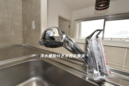 真栄マンション東刈谷601号室のキッチン水栓は浄水機能付きです。