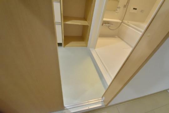 ユーハウス第二刈谷2B号室の洗面室に入る瞬間です。