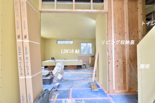 東浦町大字石浜字青木の新築戸建の玄関へ入ると見える景色。