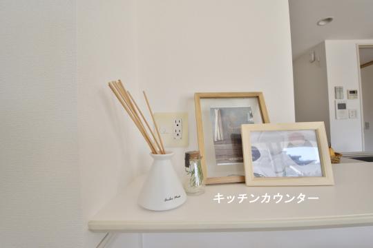 アトレ東刈谷グリーティングコートのキッチンカウンター上の写真たて。