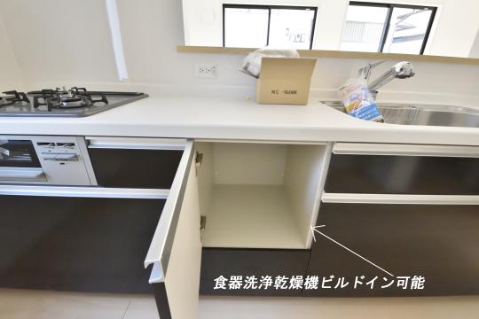 大府市桃山町1丁目3号棟のシステムキッチンのビルドイン食器洗浄乾燥機スペースです。