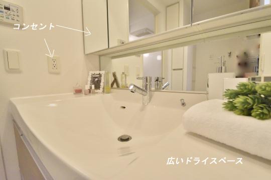 アトレ東刈谷グリーティングコートの洗面台のコンセントの位置。