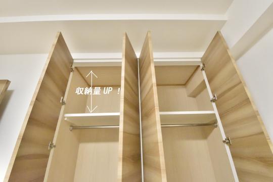 アトレ東刈谷グリーティングコートのクローゼットの収納量が分かる写真です。