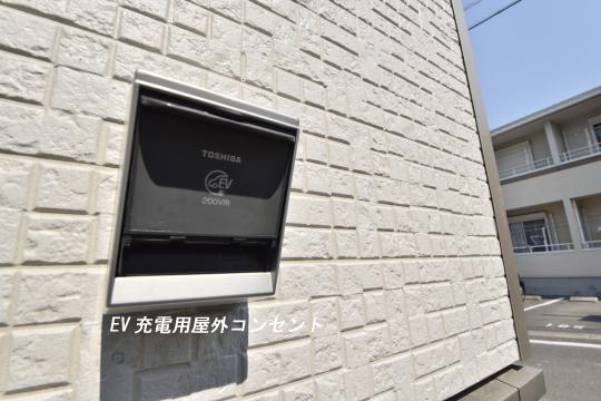 大府市桃山町1丁目3号棟のEV充電用屋外コンセント。