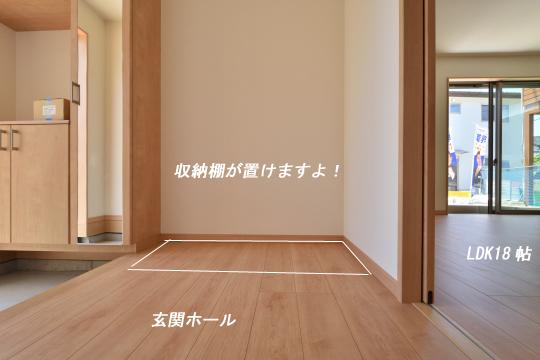 東浦町石浜青木の玄関ホールには収納が置けます