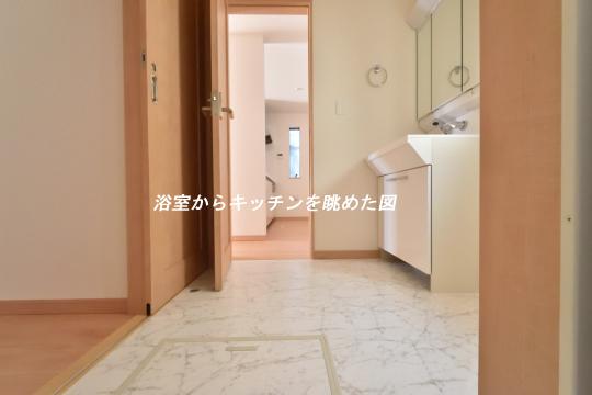 東浦町石浜青木4LDKの浴室からキッチンを眺めた図。