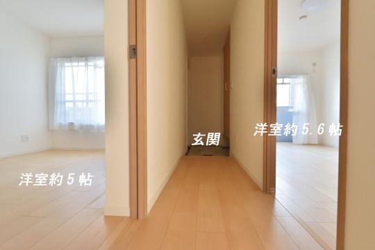 アーバンライフ東刈谷の北側洋室2部屋と廊下の位置